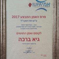 תעודת פרס האמן המבצע לשנת 2017
